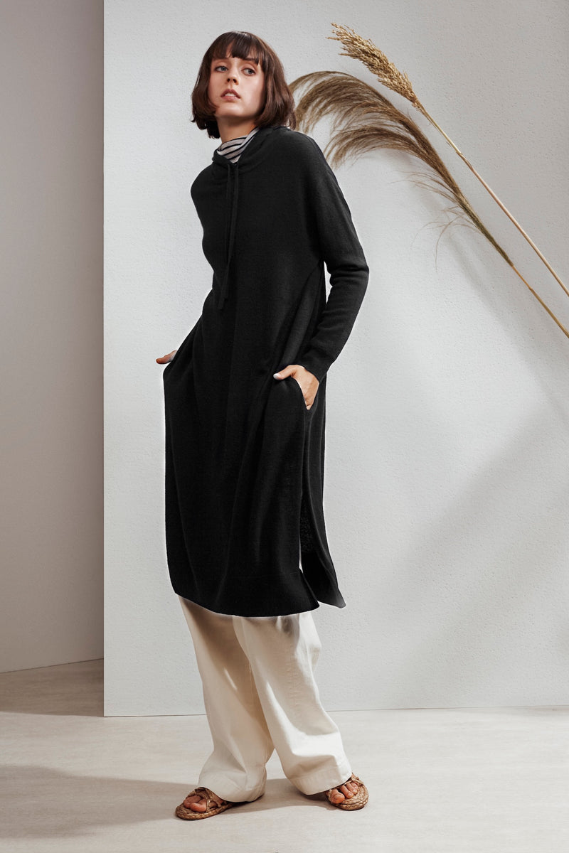 North Hooded Yak Cashmere-blend Dress Black| 22 Factor | ECO-LUXE knitwear