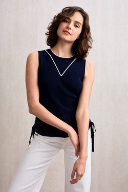 Idalia Ribbed Top Navy