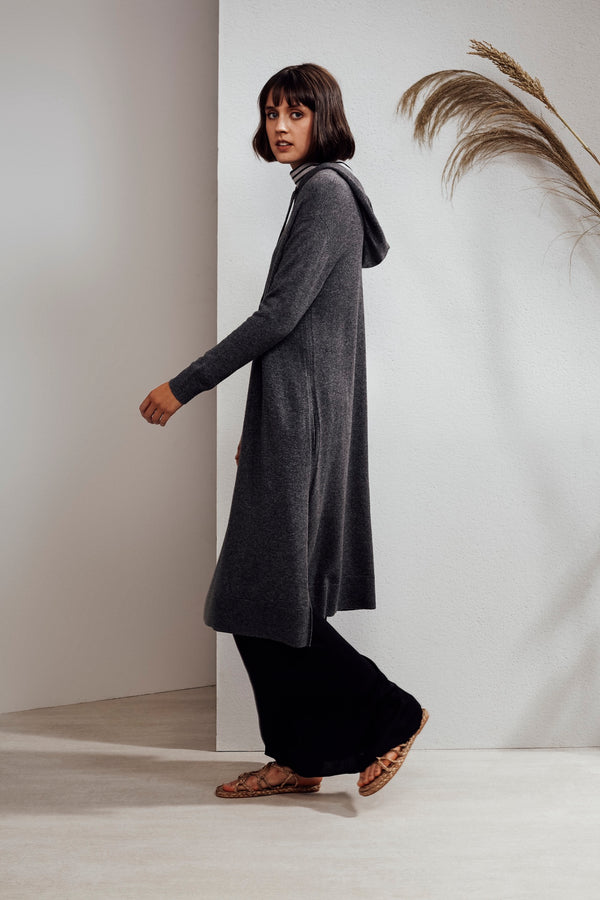 North Hooded Yak Cashmere-blend Dress Charcoal| 22 Factor | ECO-LUXE knitwear