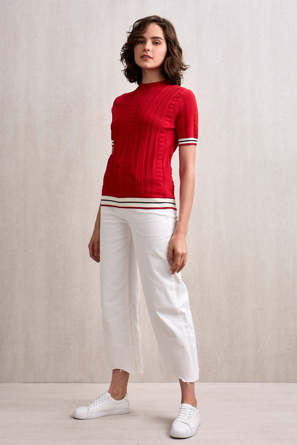 Kyra Short Sleeve Knit Top Red