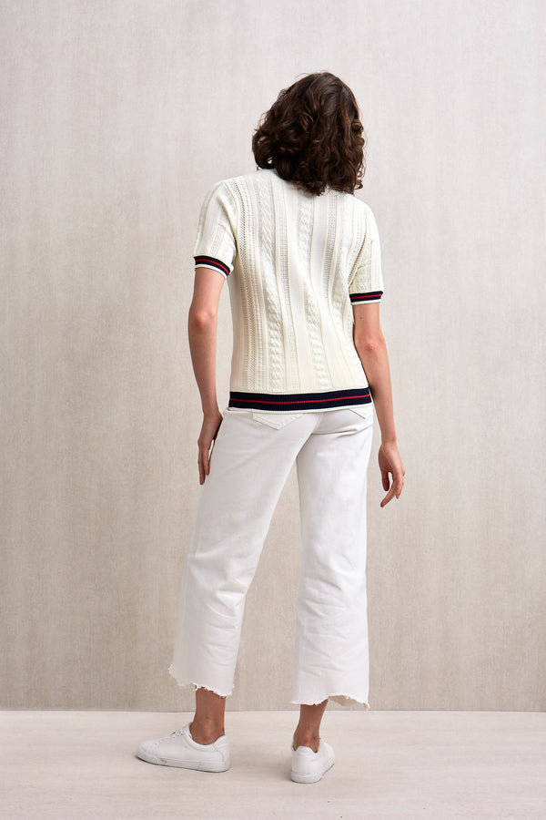 Kyra Short Sleeve Knit Top Ivory
