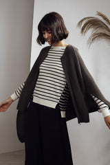 Iclyn Knitted Poncho Moss Grey | 22 Factor | ECO-LUXE knitwear