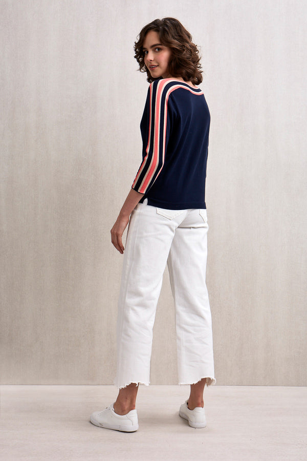 Eden Boat Neck Top Navy