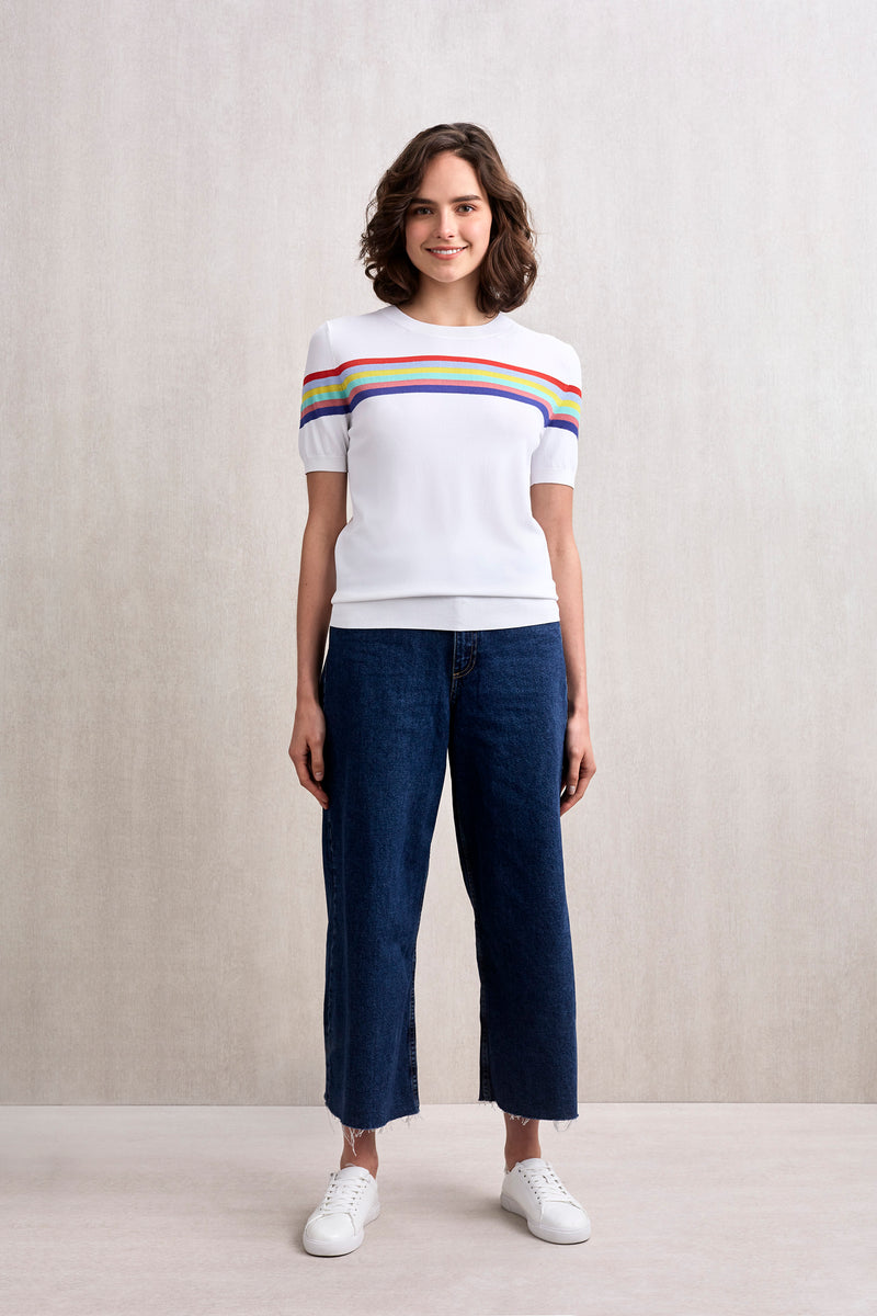 Rainbow Striped Short Sleeve Top White | 22 Factor