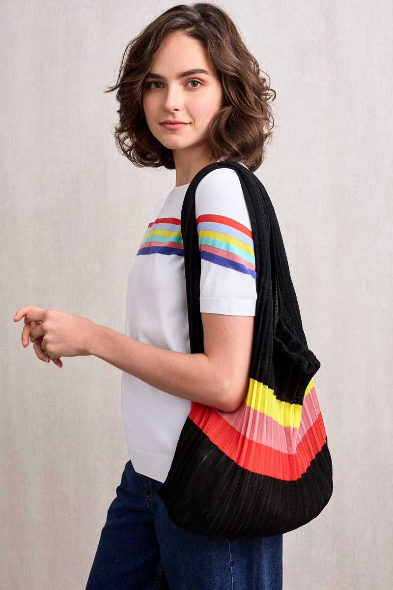Rainbow Striped Knitted Tote Black | 22 Factor