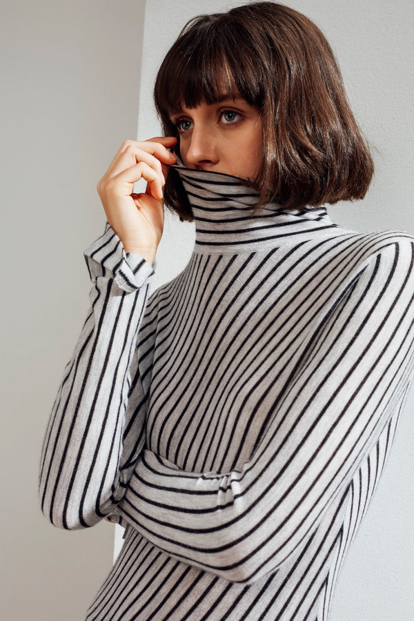 Ember Striped Feather Cashmere Top Light Grey / Charcoal | 22 Factor | ECO-LUXE knitwear