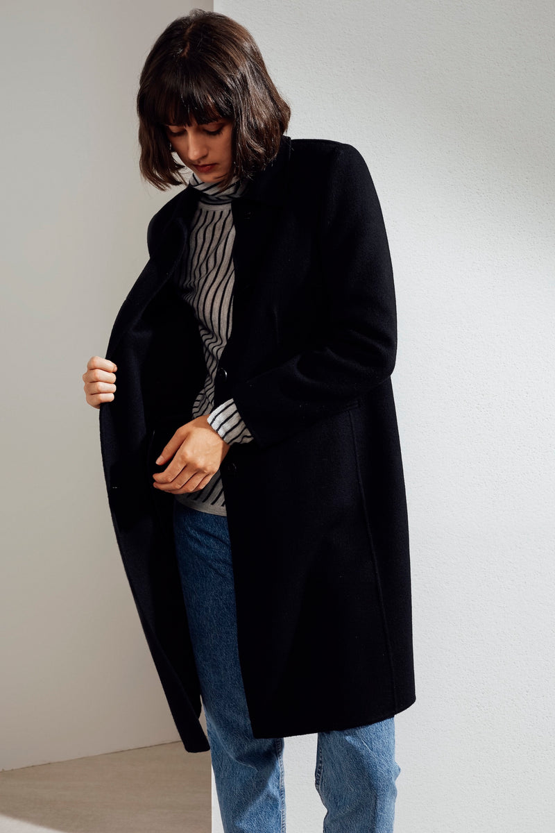 Eve Double-faced Cashmere Car Coat Black
