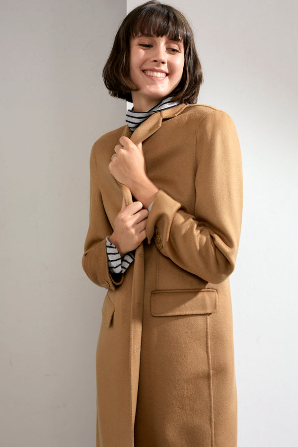 Sophie Double-faced Cashmere Tailored Coat Camel