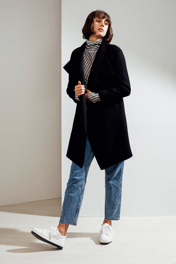 Claire Double-faced Cashmere Waterfall Coat Black