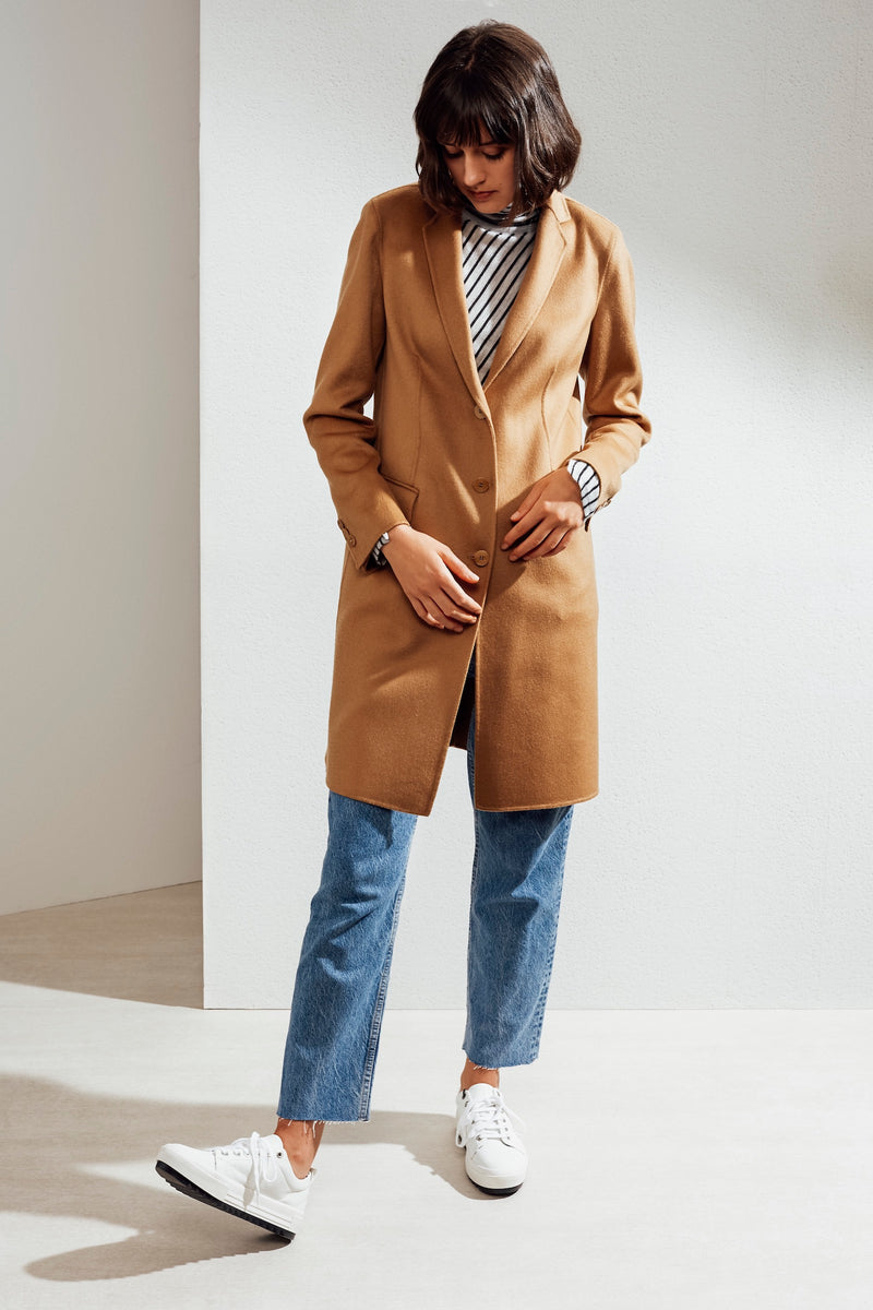 Sophie Double-face Cashmere Tailored Coat Camel| 22 Factor | ECO-LUXE knitwear