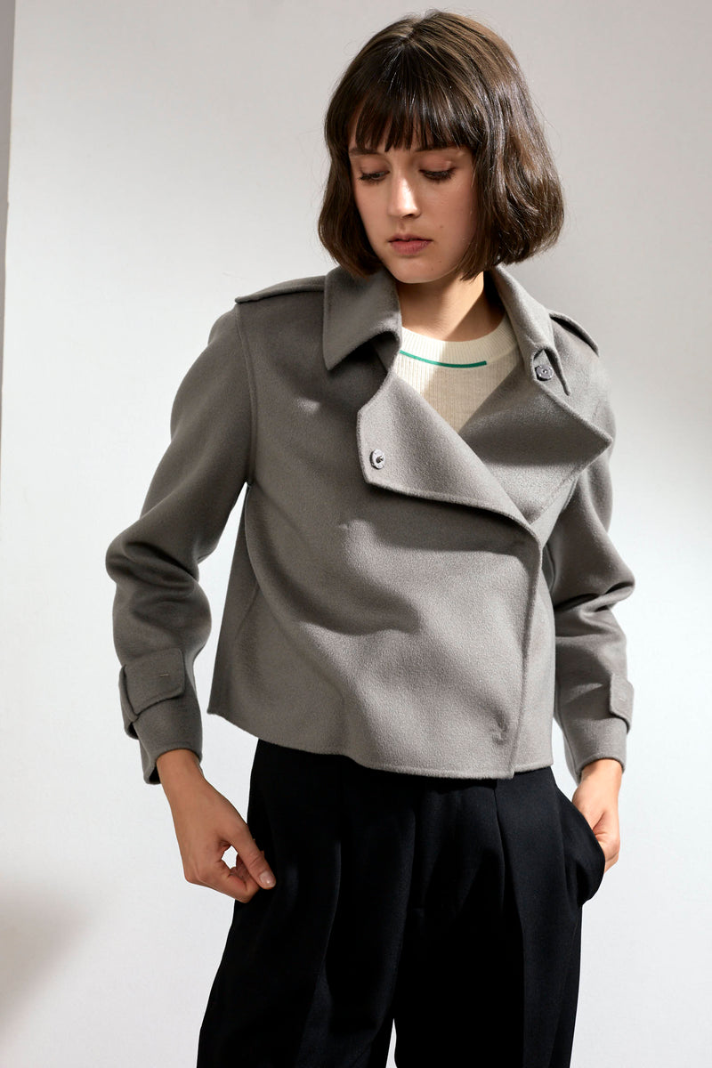 Aria Double-faced Cashmere Double Breasted Military Coat Grey