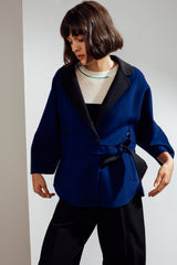 Haley Double-face Cashmere Wrap Coat Blue/Dark Grey| 22 Factor | ECO-LUXE knitwear