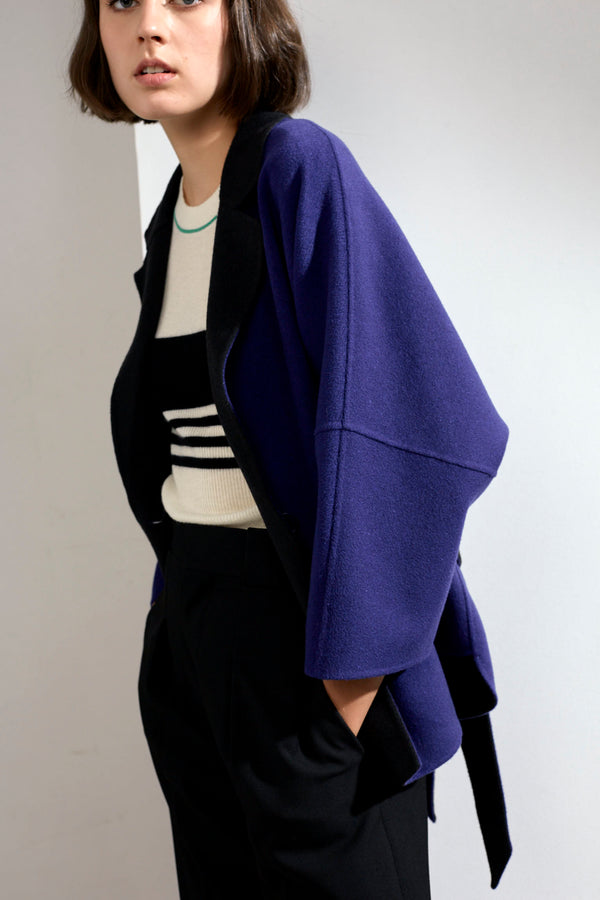 Haley Double-faced Cashmere Wrap Coat Blue/Dark Grey