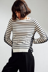 Nieva Intarsia Feather Cashmere Top Ivory / Black  | 22 Factor | ECO-LUXE knitwear