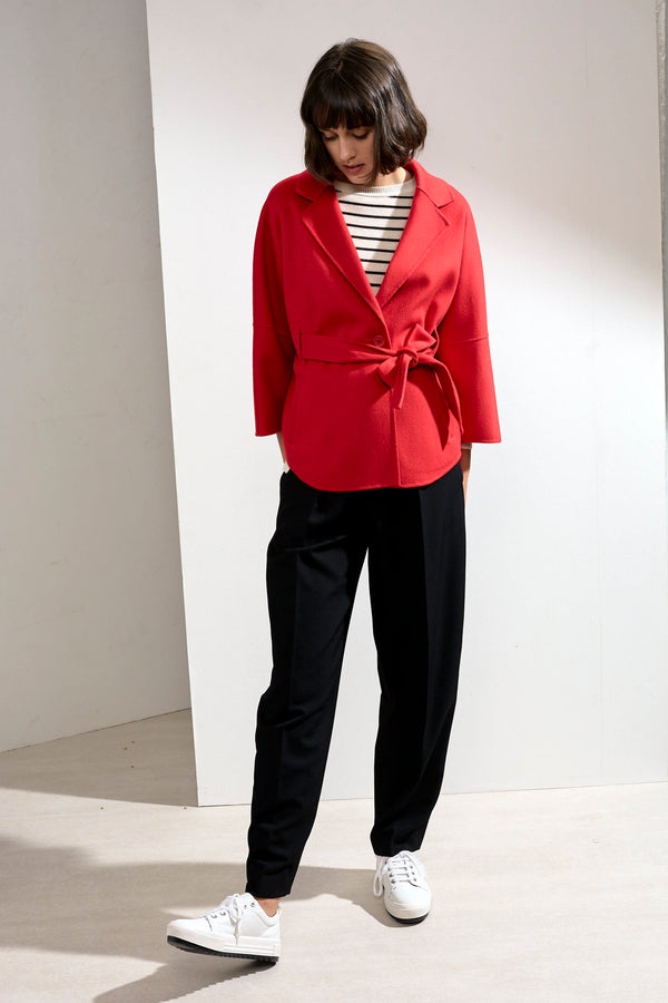 Haley Double-face Cashmere Wrap Coat Red