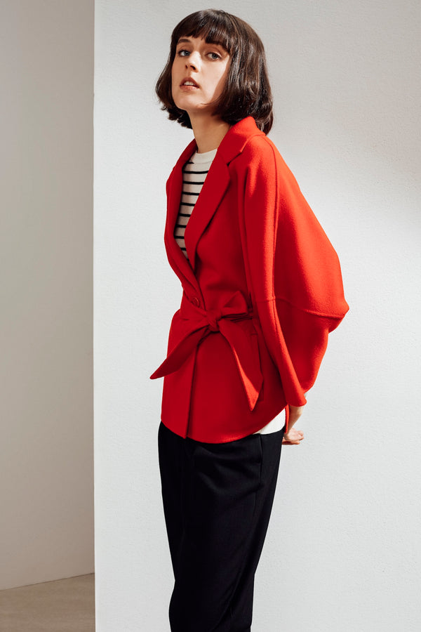 Haley Double-face Cashmere Wrap Coat Red| 22 Factor | ECO-LUXE knitwear