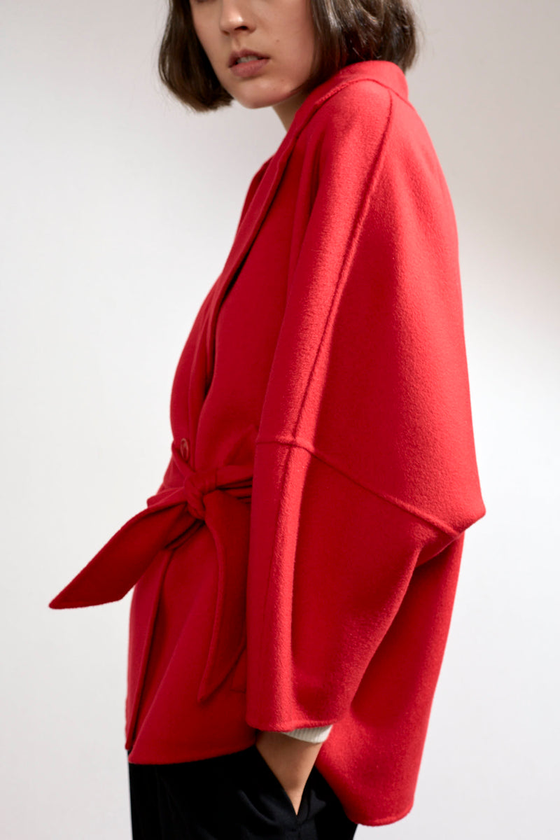 Haley Double-faced Cashmere Wrap Coat Red