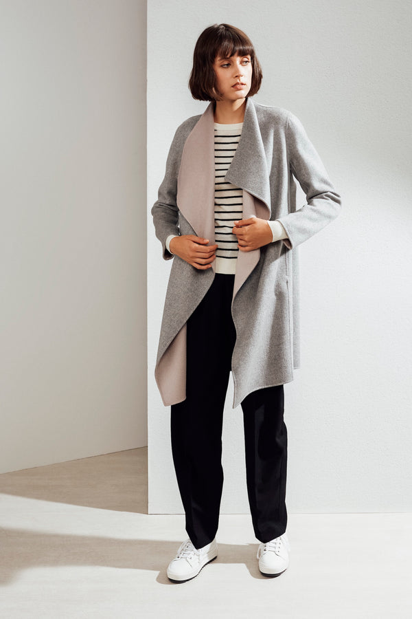 Claire Double-face Cashmere Waterfall Coat Grey/Pink| 22 Factor | ECO-LUXE knitwear