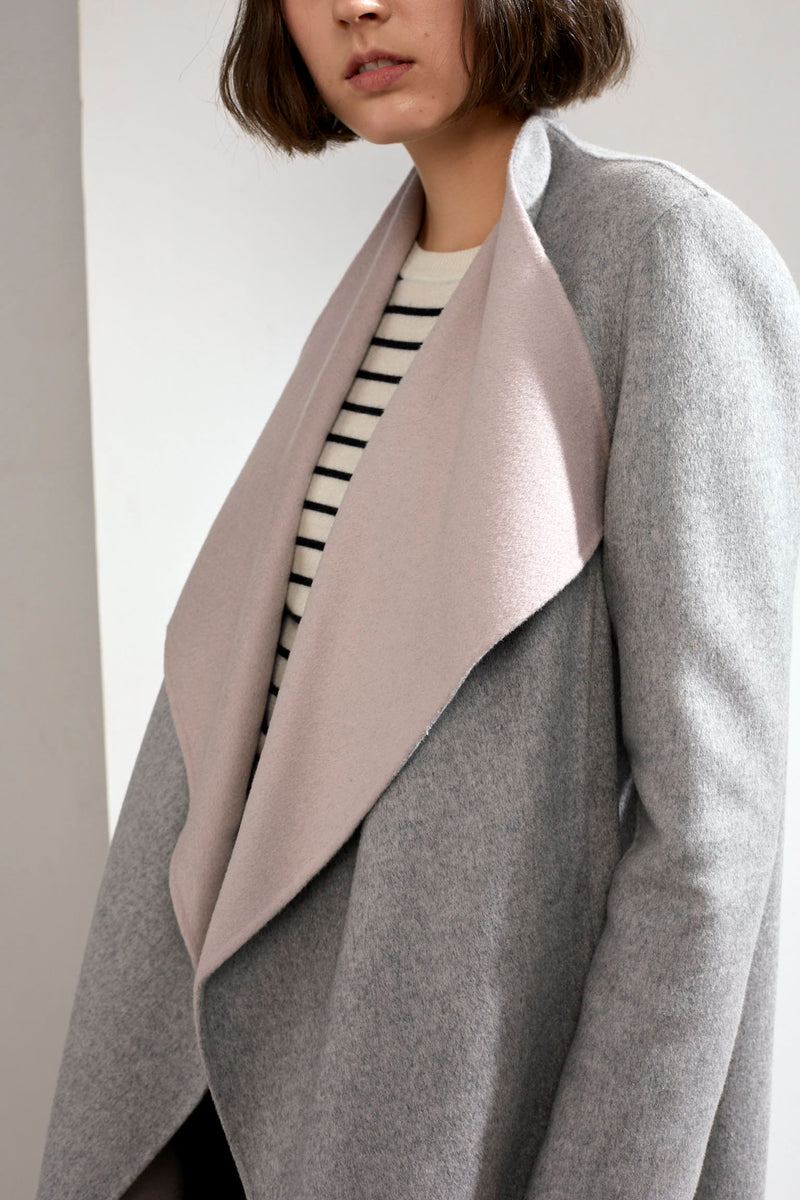 Claire Double-faced Cashmere Waterfall Coat Grey/Pink