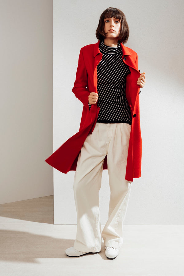 Eve Double-face Cashmere Car Coat Red| 22 Factor | ECO-LUXE knitwear