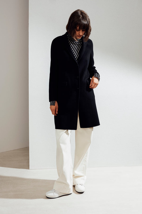 Sophie Double-face Cashmere Tailored Coat Black| 22 Factor | ECO-LUXE knitwear