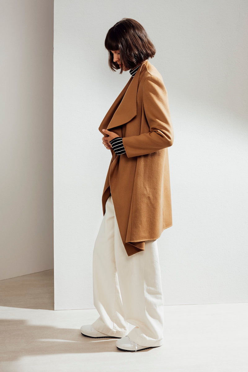 Claire Double-face Cashmere Waterfall Coat Camel| 22 Factor | ECO-LUXE knitwear