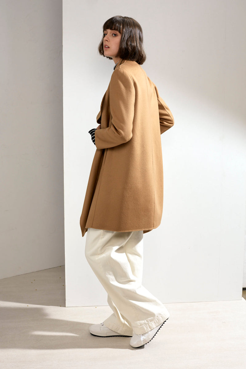 Claire Double-faced Cashmere Waterfall Coat Camel