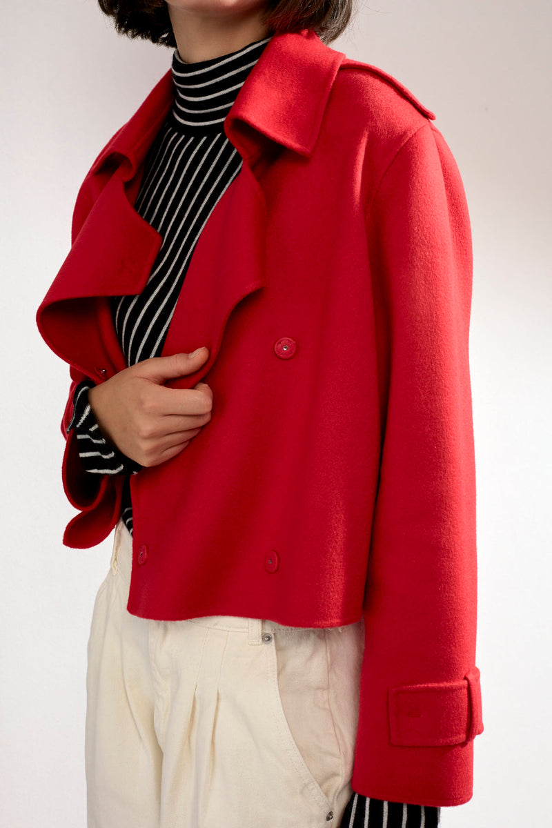 Aria Double-faced Cashmere Double Breasted Military Coat Red