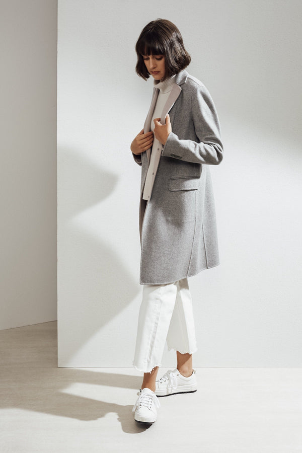 Sophie Double-face Cashmere Tailored Coat Grey/Pink| 22 Factor | ECO-LUXE knitwear