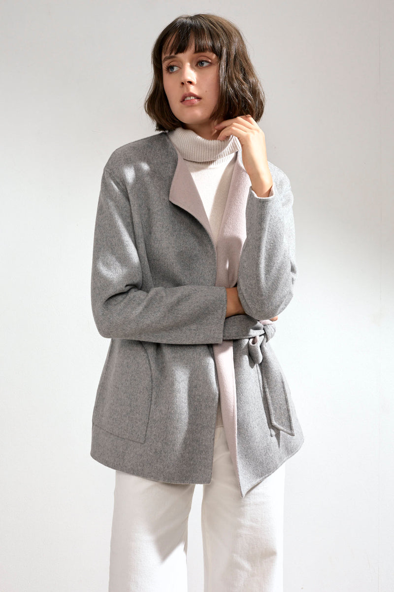 Alda Reversible Double-faced Cashmere Wrap Coat Grey/Pink
