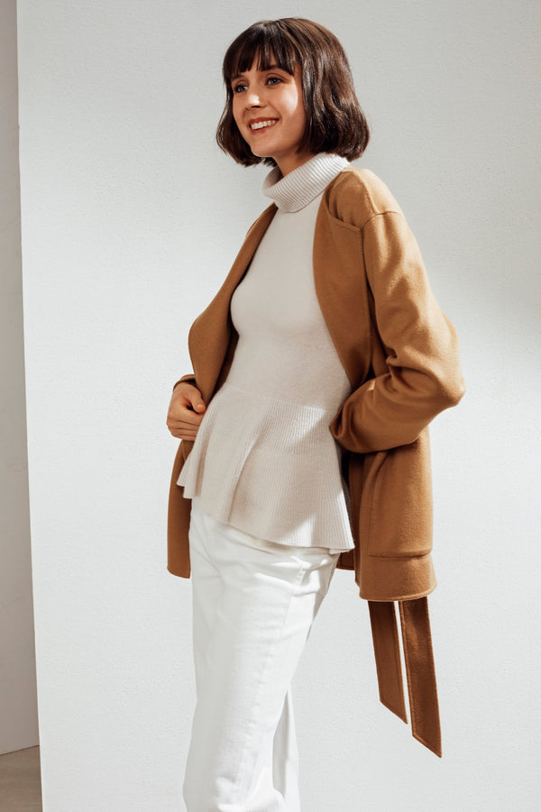 Alda Reversible Double-face Cashmere Wrap Coat Camel | 22 Factor | ECO-LUXE knitwear