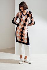 Lucia Asymmetric Argyle Tunic Black| 22 Factor | ECO-LUXE knitwear