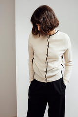 Garnet Embroidered Cashmere Cardigan White/Black | 22 Factor | ECO-LUXE knitwear