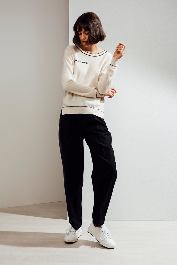 Paloma Embroidered Cashmere Sweater White/Black| 22 Factor | ECO-LUXE knitwear