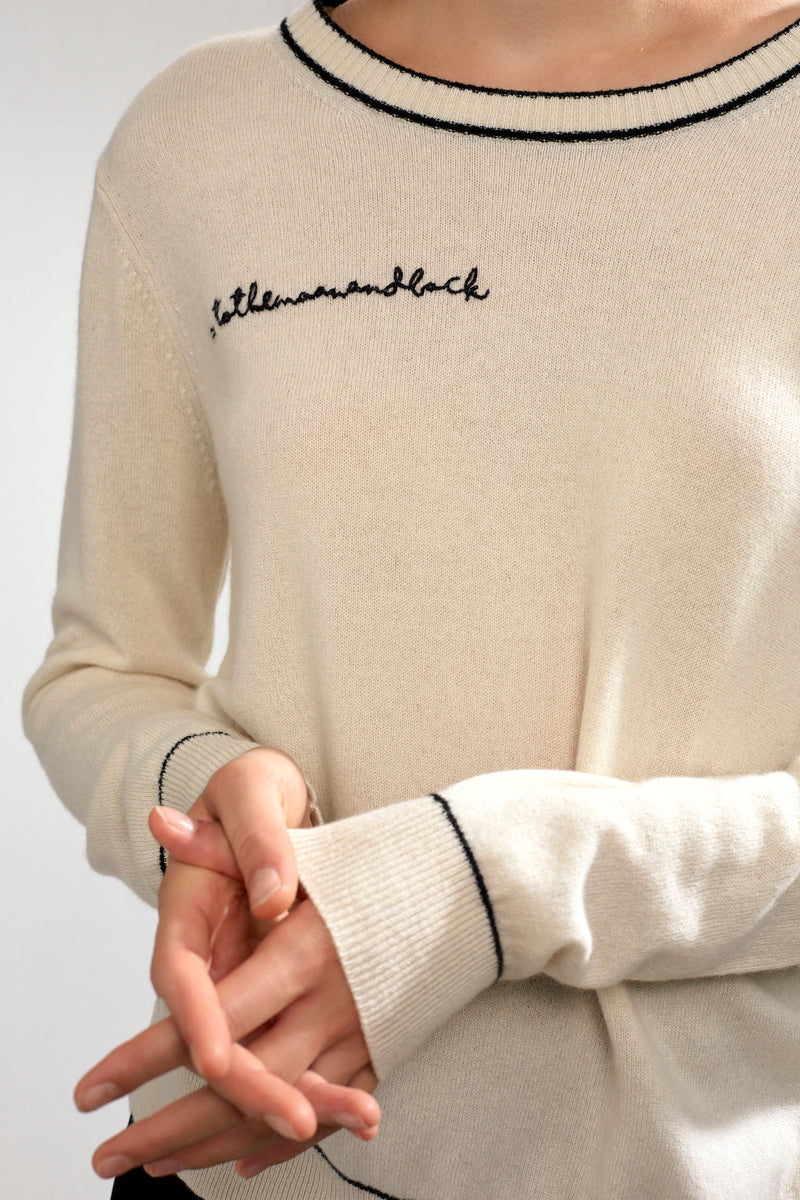 Personalized Paloma Embroidered Cashmere Sweater White/Black