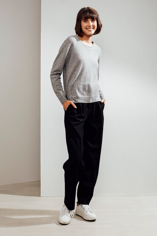 Paloma Embroidered Cashmere Sweater Grey/Ivory| 22 Factor | ECO-LUXE knitwear