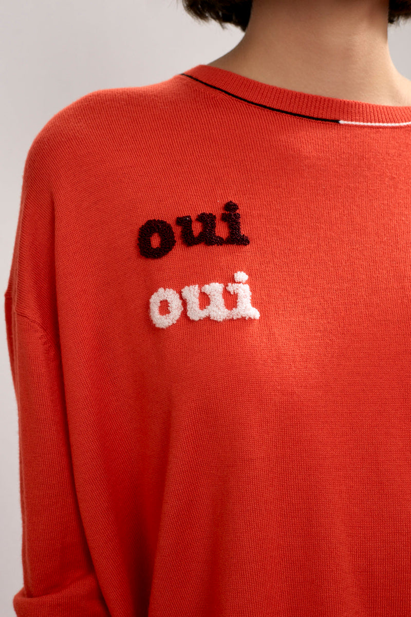 Personalised Alba Embroidered Merino Top Red