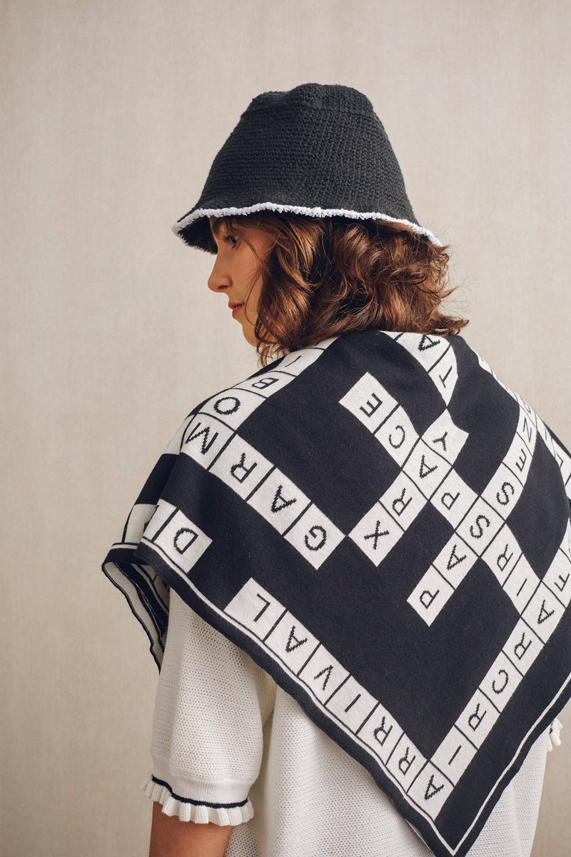 Inflight Crossword Scarf Black X White | 22 Factor