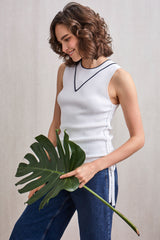 Idalia Ribbed Top White