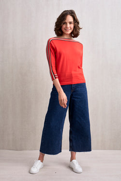 Eden Boat Neck Top Red