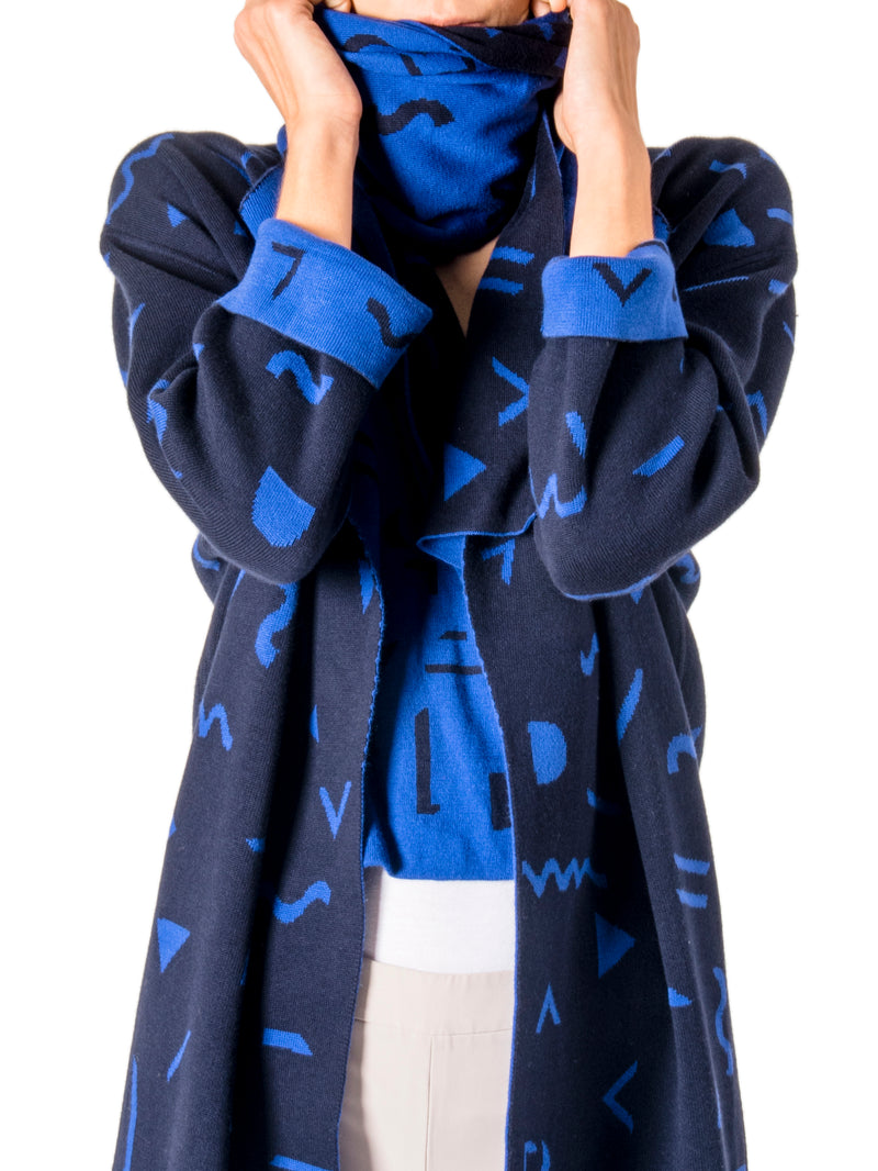 Double Sided Jacquard Scarf in Blue/ Navy