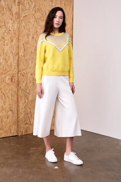 Dorothy Multi-Colour Chevron Knit Top Lemon Yellow