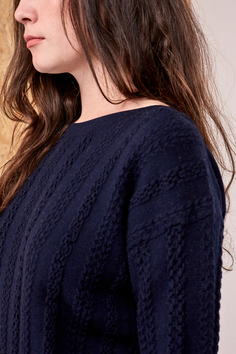 Katie Dimensional Cable Merino Crew Navy | 22 Factor | ECO-LUXE knitwear