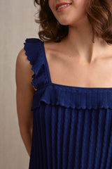 Lillie Ruffle Tank Top Navy | 22 Factor