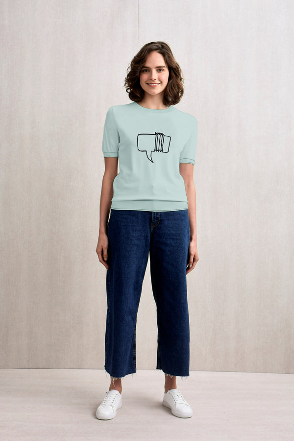 To Make a Long Story Short Short Sleeves Knit Top