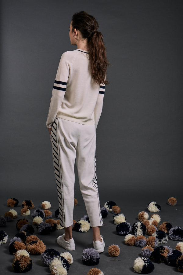 'Make it last' Intarsia Wool Sweater White