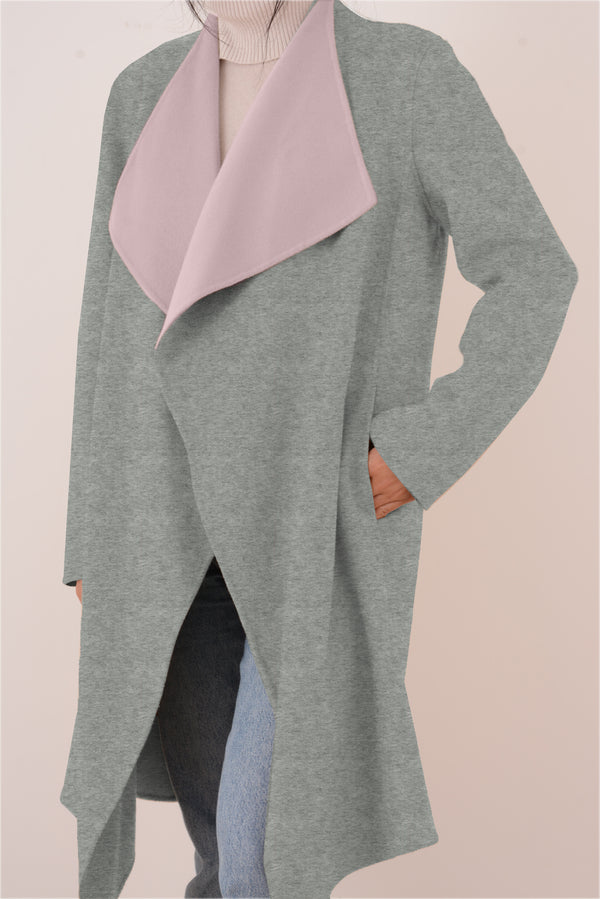 Claire Double-Face Cashmere Waterfall Coat - Grey/Pink