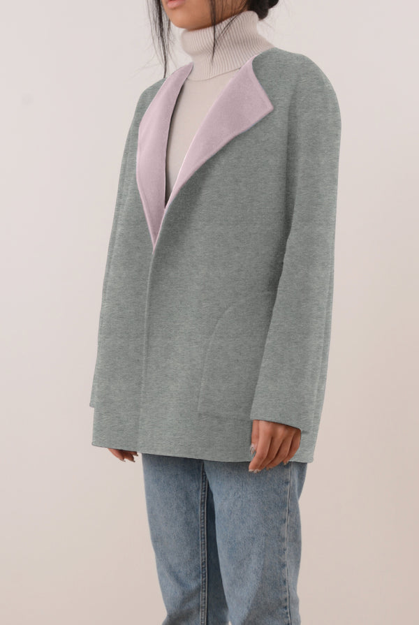 Alda Reversible Double-Face Cashmere Wrap Coat - Grey/Pink