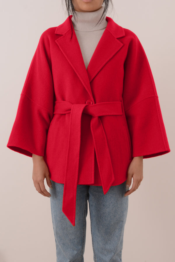 Haley Double-Face Cashmere Wrap Coat - Red