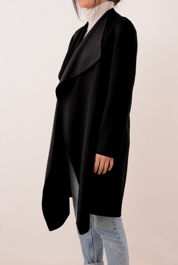 Claire Double-Face Cashmere Waterfall Coat - Black